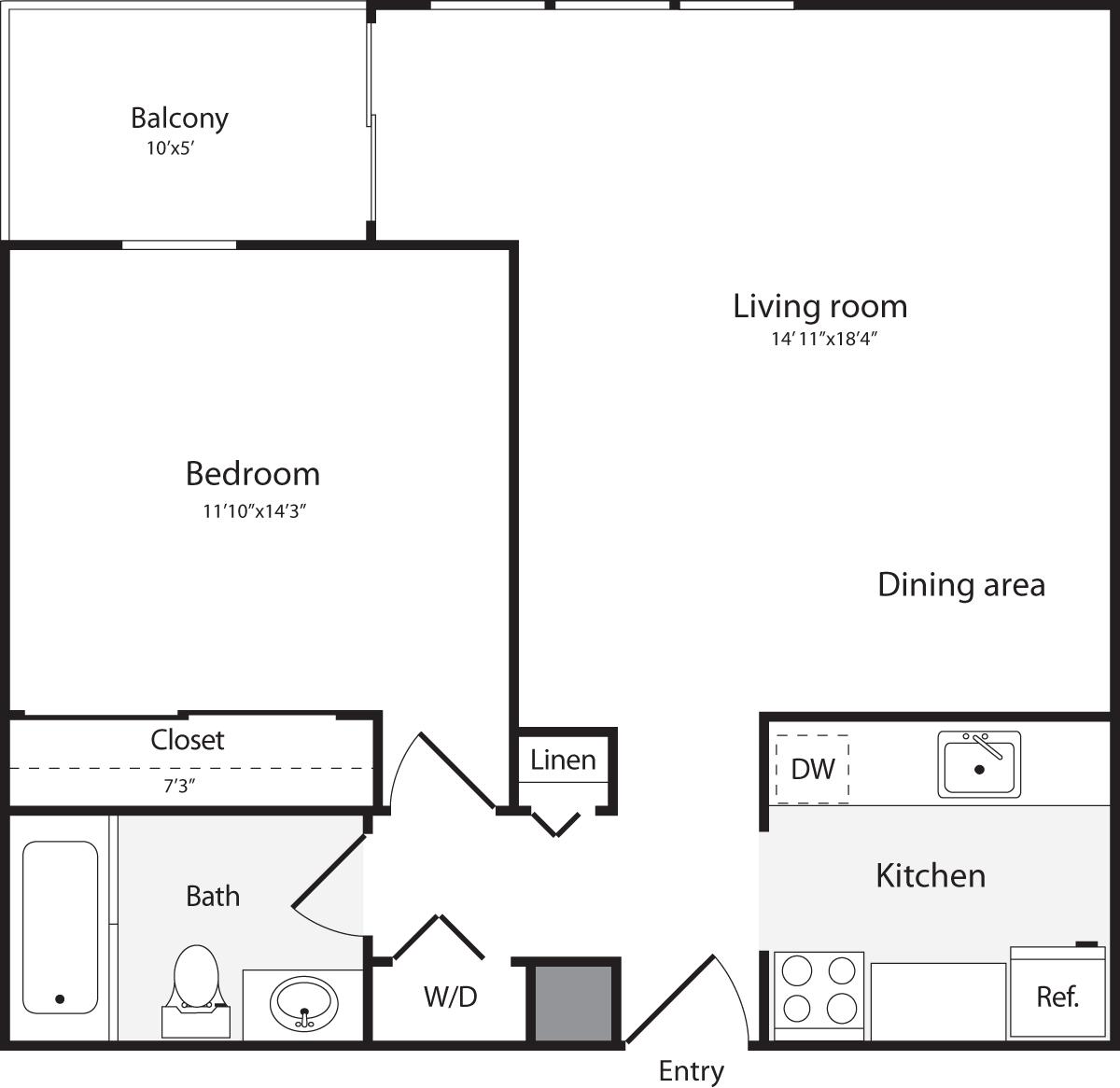 1 Bedroom M W/D